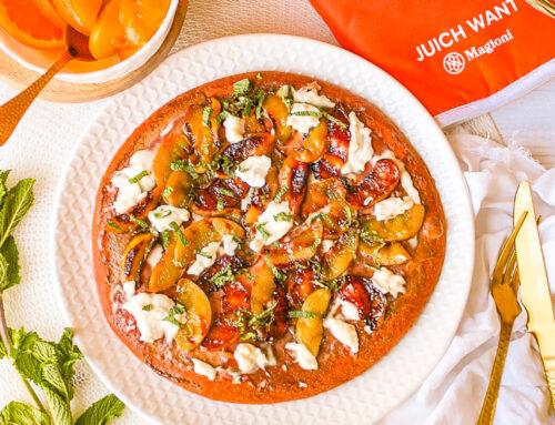 Oranje ontbijtpizza